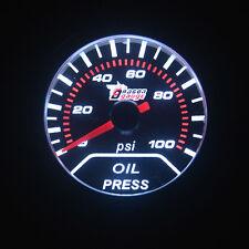 "Car 2"" 52mm Pointer PSI Oil Press Pressure Gauge Smoke Len LED Indicator Needle"