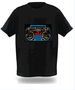 Sound Activated Electronic Light Up Radio Graphic Equalizer T-Shirt All Sizes