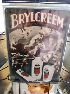 Brylcreem Hairdressing Metal Wall Hanging Plaque Sign 15x20cms