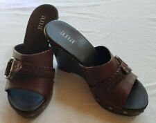 A.N.A Wedge Heel Women's Slip on Stylish Leather Sandals 6.5 M Brown