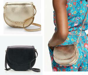 Ex Boden Lingfield Mini Saddle Bag Leather Handbag Navy Gold RRP £120