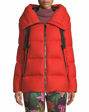 MONCLER SERIN GIUBBOTTO WOOL PUFFER JACKET WITH HOOD IN ORANGE SIZE 3 / LARGE