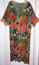 """Vintage 80s Floral Vestido 48"""" busto grande Arruga acabado Crochet Trim Mangas Boho"""