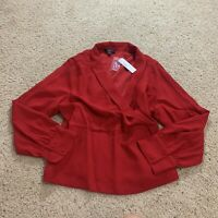 J Crew Women's Red Drapey faux-wrap top in 365 crepe AE875 Size 16 $89