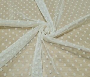 MESH NET LACE FABRIC CREAM COLOUR SPOTTED STRETCH  - SOLD BY THE METRE