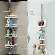 4 Tier Adjustable Telescopic Bathroom Organiser Corner Shower Shelf Unit White