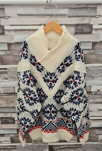 AIRPLAY WOMENS VTG 90'S THICK WINTER KNIT GEOMETRIC PULLOVER COSBY WOOL JUMPER L
