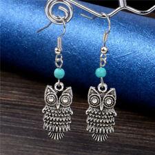 Fashion Elegant Retro Metal Owl Turquoise Earrings Dangle/Drop Ear Hook Jewelry