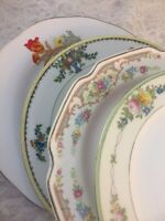 Vintage Set of 4 Mismatched China Luncheon Plates Wedding Mad Hatter Pinks   177