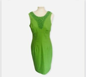 FABULOUS LADIES ADRIANNA PAPELL GREEN LINEN MIX DRESS - SIZE 10 FLATTERING LINED