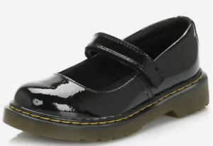 DR MARTENS MACCY GIRLS YOUTH CHILDRENS KIDS BLACK FORMAL SCHOOL SHOES