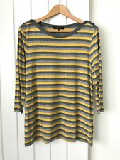Jaeger Jersey Top Striped Mustard and Grey Casual Size XL Very Good Condition
