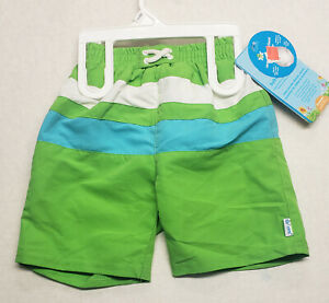 iplay Infant Boy Swim Diaper Trunks Green White UPF 50+ Reusable Absorbant NWT
