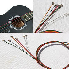 Hot Set 6x Rainbow Multi-Color Acoustic Guitar Strings Stainless Steel Alloy New