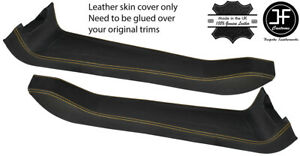 YELLOW STITCH 2X DOOR SILL TRIM TOP GRAIN LEATHER COVER FOR LOTUS ELISE S2 01-10