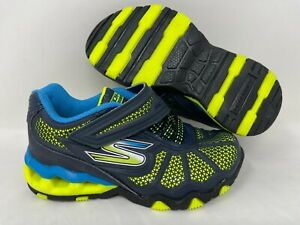 NEW! Skechers Youth Boy's HYDRO STATIC Athletic Shoes Navy/Lime #97431L 141T r