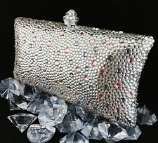 Luxury Pillow Evening Bag With Clear/Rose/Smoky Swarovski Crystal Purse Clutch