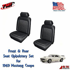 Black Front & Rear Seat Upholstery for 1969 Mustang With Sportsroof