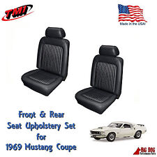 Black Front & Rear Seat Upholstery for 1969 Mustang by TMI Made in the USA!