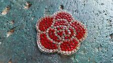 Patch Rose Blume Blüte rot silbern mit Strasssteinen Bügelbild