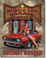 Detroit Muscle Car Garage Camaro Pin Up Girl Novelty TIN SIGN Shop Poster Decor