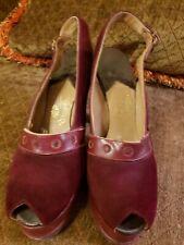 True Vintage 1940s Burgundy Beleganti Handmade Peep Toe Shoes Heels Pinup 7.5 N