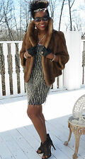 Fab crop Designer Hudson Bay brown Mink fur bolero coat jacket stroller S-M 4-10