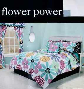 FLOWER POWER PASTELS TWIN COMFORTER SHEETS SHAM BEDSKIRT 6PC BEDDING SET NEW