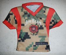 Jim Beam Whiskey Bottle Army Military Camo Cover Miniature Jersey Shirt