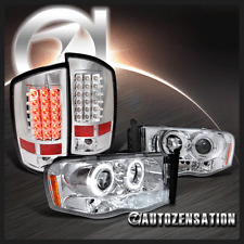 2002-2005 Ram 1500 2500 3500 Chrome Halo Projector Headlights+LED Tail Lamp
