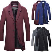 Long Overcoat Coat Jacket Trench Winter Warm Men's British Casual Wool Outwear