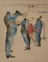 Rare Signed & Numbered LEO MEIERSDOR 28/45 Jazz Players New Orleans Art Print