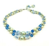 Vintage Bead Necklace Glass Crystals Art Glass Confetti Faux Pearls Two Strands
