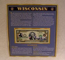 Wisconsin $2 Two Dollar Bill - Colorized State Landmark - Uncirculated Authentic