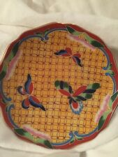Vintage Chinese Cloisonne 4-Inch Plate, Butterfly Design