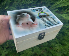 Personalised pet Mouse wooden urn for ashes, Memorial keepsake box.