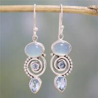 Vintage 925 Silver Sea Blue Topaz Dangle Drop Hook Earrings Women Boho Jewelry