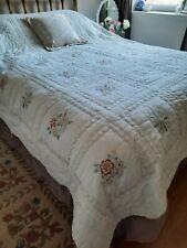 Vintage White Cotton Reversible Embroidered florals Durham style Bedspread Quilt