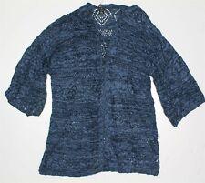 STYLE CO Womens XL CARDIGAN OPEN FRONT BLUE KNIT KIMONO Sweater Knit