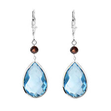 14K White Gold Gemstone Earrings with Pear Shape Blue Topaz And Round Garnet