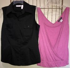 Mixed Lot Pink White Polkadot Black Stretch Tops Women's M 10-12