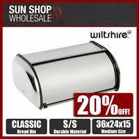100% Genuine! WILTSHIRE Classic Stainless Steel Bread Bin 36x24x15cm! RRP$49.99!