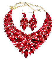 Choker Necklace Earring Red Rhinestone Austrian Crystal Pageant Drag Prom