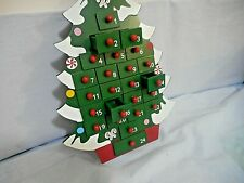 """New Christmas Tree Advent Calendar Wooden Drawers 1x 1 1/2""""Countdown 14"""" Tall"""