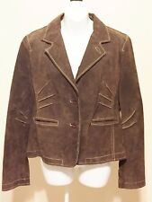 Wilsons Leather Maxima Suede Leather Women's Size L  Brown Biker Western Jacket