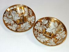 2 Haviland Limoges Porcelain Gold And White Grape Leaf Berries