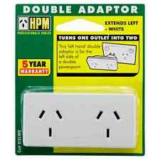 HPM 2Outlet Slimline Double Electrical Adaptor Left Hand Turns One Outlet to Two