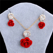 18k Gold Plated Blue/Red Rose Flower Jewelry Set Necklace+Drop Earrings Gift