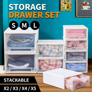 Storage  Drawers Set Cabinet Tools Organiser Box Chest Drawer Plastic Stackable