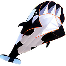 Hengda KITE-3D Kite Huge Frameless Soft Parafoil Giant Black Dolphin Breeze Kite